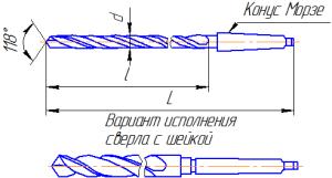 Сверло спиральное длинное